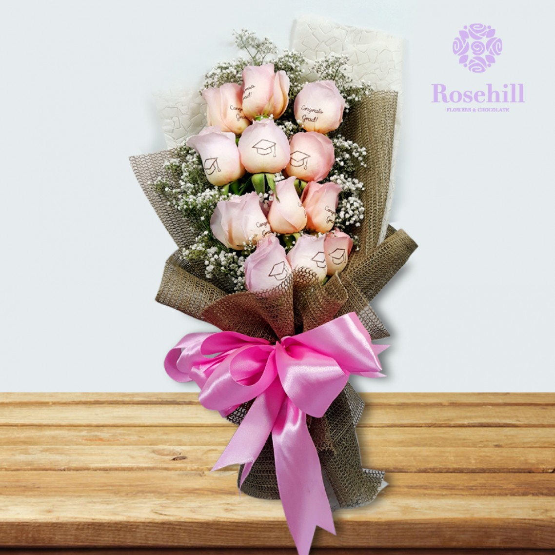 1524673526-h-250-_Rosehill's Graduate Bouquet with Babys Breath- Pink.jpg